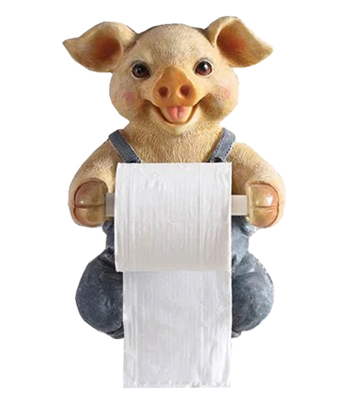 C & S Toilet Paper Holder Dispenser, Tissue Roll Towel Holder Stand, Funny Animal Wall Mount Bathroom Kitchen Home Décor (Pig)