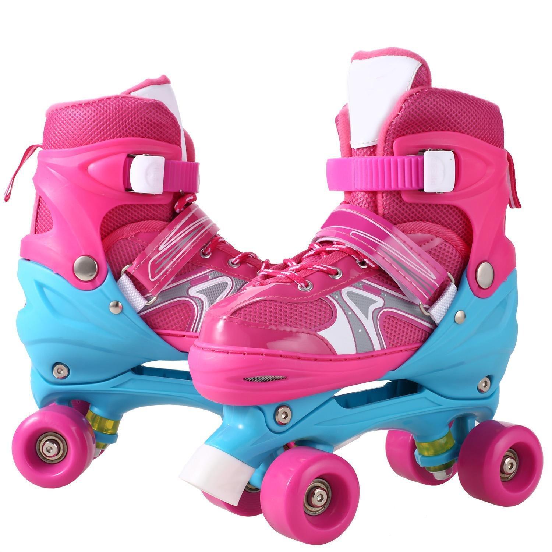 Hindom ファッション調節可能なインラインスケートイルミネーションホイールローラーブレード ユース/キッズ/インドア/アウトドア用 ピンク-Double Row Skate Small