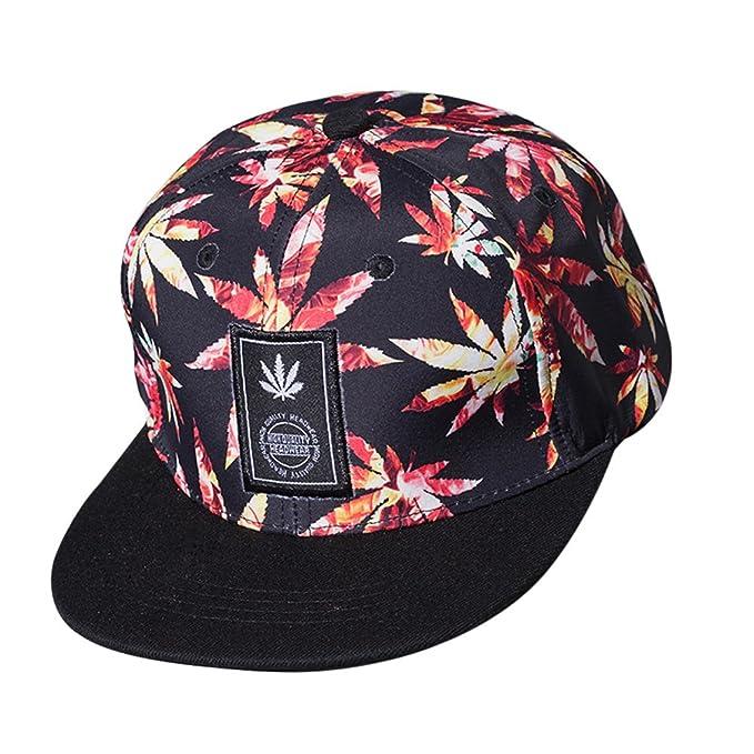 17f41eacf1354 Tomtopp Unisex Bboy Brim Adjustable Baseball Cap Snapback Hip-hop Hat (Red)