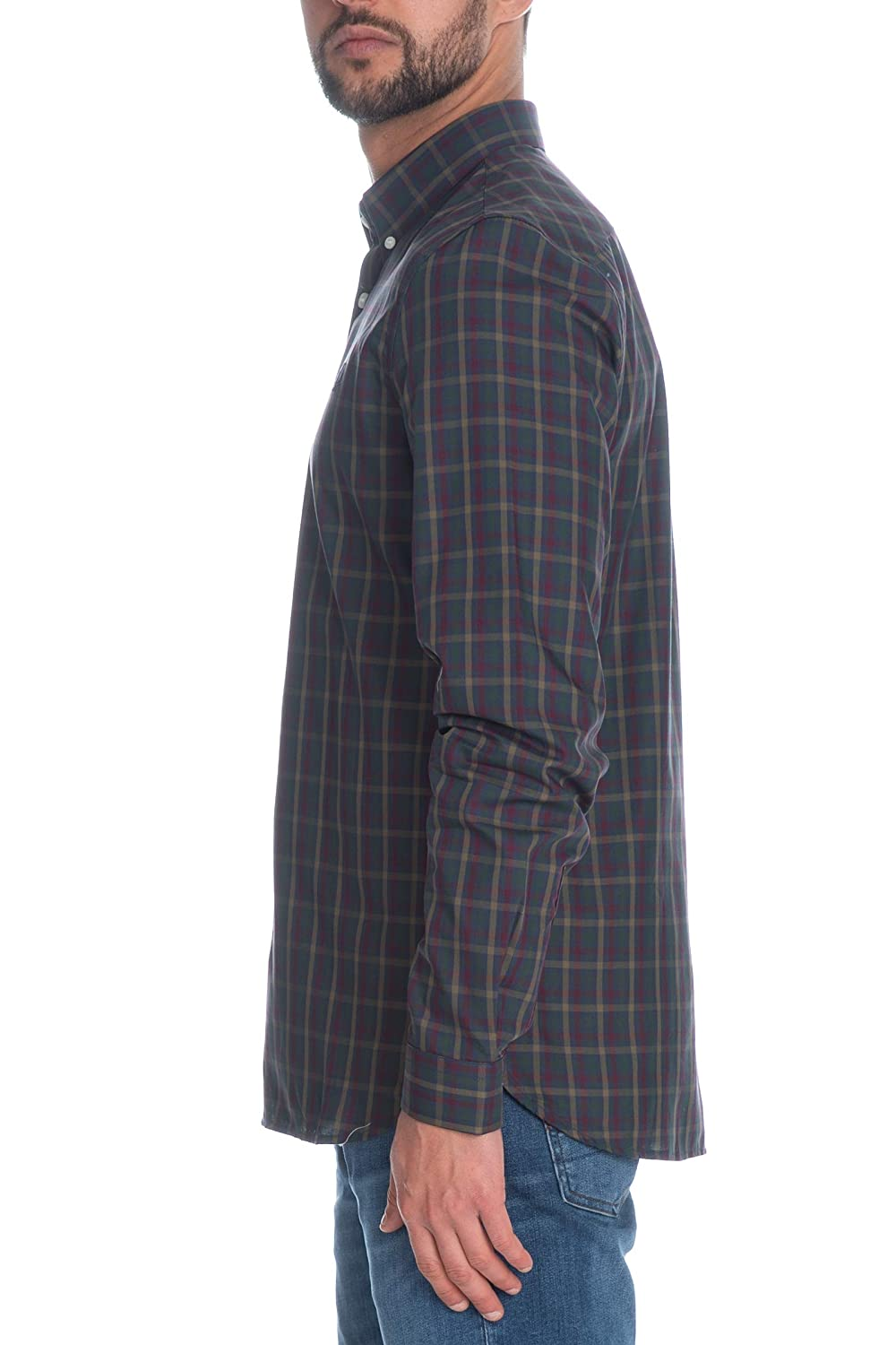 0d7b3af51 Fred Perry Men's Twill Checked Shirt in Dark Airforce: Amazon.co.uk:  Clothing