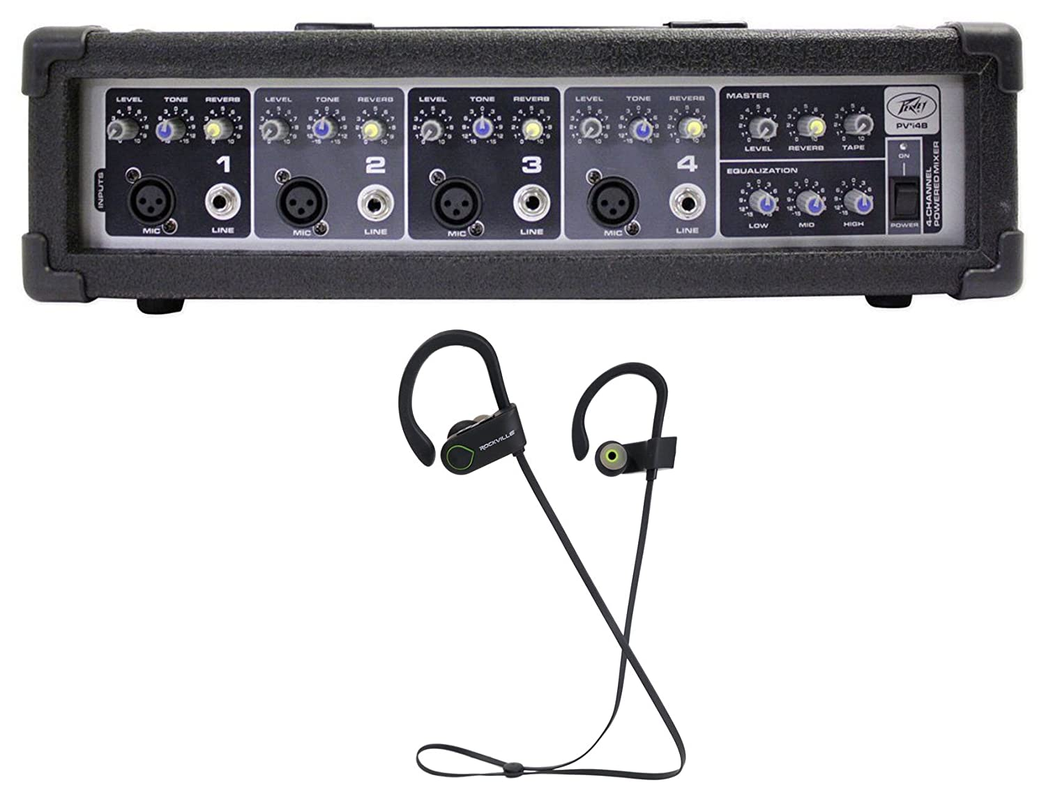 Peavey PVi4B PVi 4B 100w 4-Ch Powered Mixer with 4 XLR Mic Inputs+Free Speaker ! PVi4B+PBL20