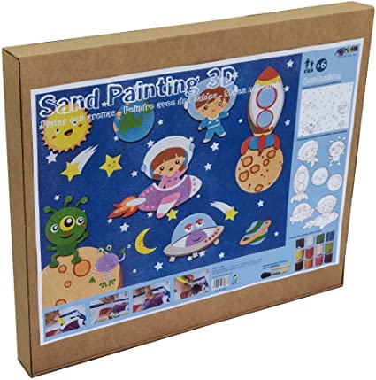 Manualidades para Ni/ños +6 a/ños Arenart Pack 7 Figuras de Astronautas 45x35cm| para Pintar con Arenas de Colores Dibujo Infantil