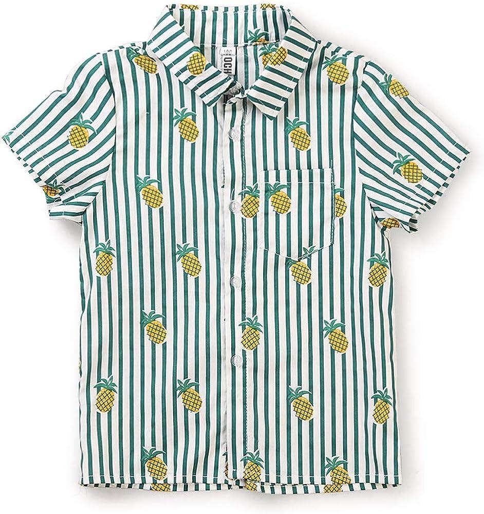 OCHENTA Mens Little /& Big Boys Print Button Down Hawaiian Shirt
