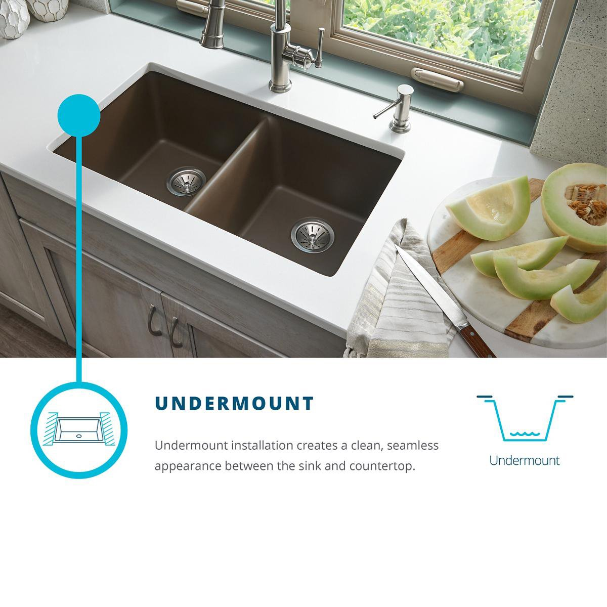 Elkay Quartz Classic ELGU2522WH0 Single Bowl Undermount Sink, White by Elkay (Image #8)