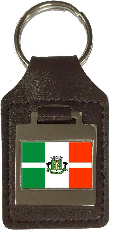 Leather Keyring Engraved Osasco City Sao Paulo State Flag