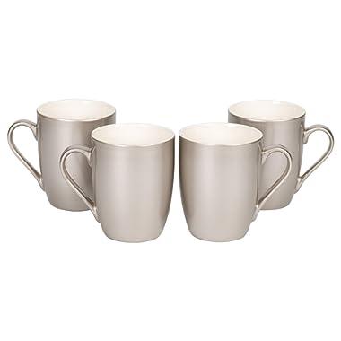 Silver Tone Metallic Finish 10 Oz. New Bone China Coffee Cup Mug Set of 4