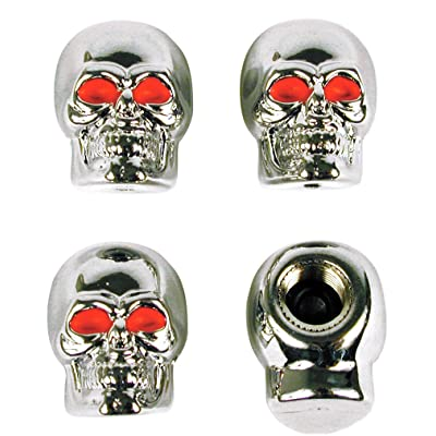 Custom Accessories 16220 Chrome Skull Style Valve Cap -, Pack of 4: Automotive
