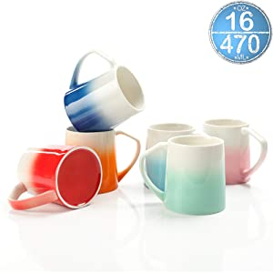 TEANAGOO MS025W Porcelain Mugs - 16 Ounce for Coffee, Tea, Cocoa, Set of 6, Warm Assorted Colors