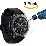 [3-Pack] Samsung Gear S3 Screen Protector, Kimilar Waterproof Tempered Glass Screen Protector for Gear S3, [9H Hardness] [Ultra High Definition] [Crystal Clear] [Scratch Resist] [No-Bubble]
