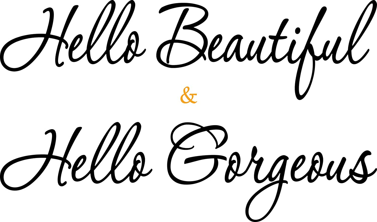 2 Sheets Vinyl Wall Decals Wall Decor, Hello Beautiful, Hello Gorgeous, Wall Decal Inspirational Quotes Mirror Stickers (22.2