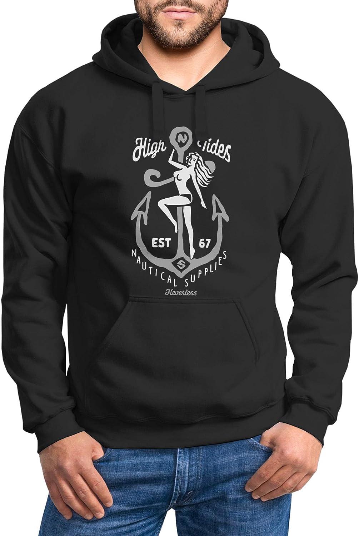 Neverless® Hoodie Herren Aufdruck Anker nackte Frau High Tides Nautical Supplies Kapuzen-Pullover Männer High Tides Schwarz