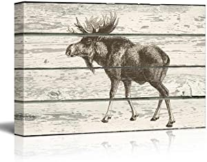 wall26 - Sketched Drawing of a Moose on a Rustic Background - Canvas Art Home Art - 16x24 inches