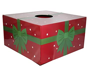 the original christmas tree box tree stand cover red new green ribbon - Christmas Tree Boxes