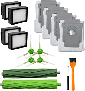 Lemige 13 Pack Replacement Parts for iRobot Roomba i7 i7+/i7 Plus E5 E6 Vacuum Cleaner Set, 1 Set of Multi-Surface Rubber Brushes & 4 Pack HEPA Filters & 4 Pack Side Brushes &4 Disposal Bags (13 Pack)