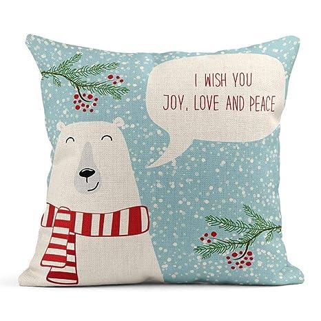 Cojín Rojo Navidad Lindo Oso Polar Discurso Burbuja y Texto ...