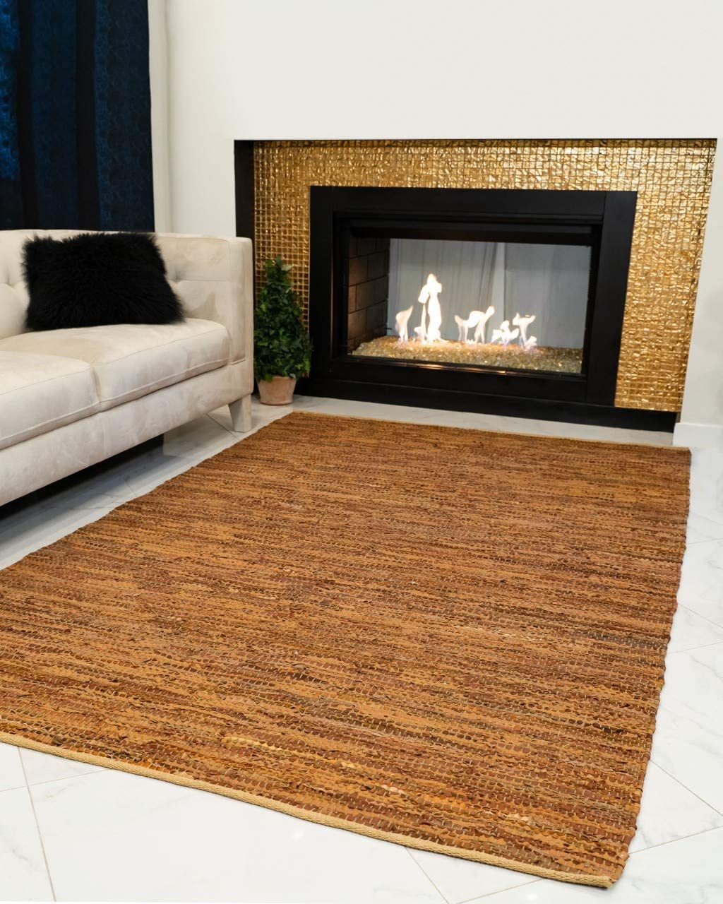 Natural Area Rugs Handmade Adore Collection 8 Feet by 10 Feet Brown Leather Rug, 8 x 10