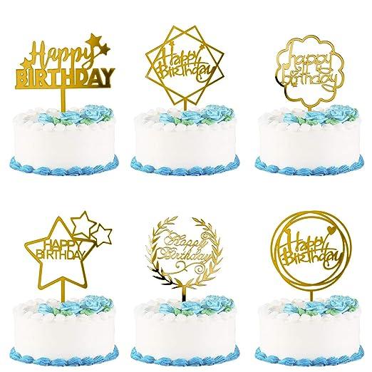 Joeyer Happy Birthday Cake Topper, 6 Pcs Oro Acrílico ...