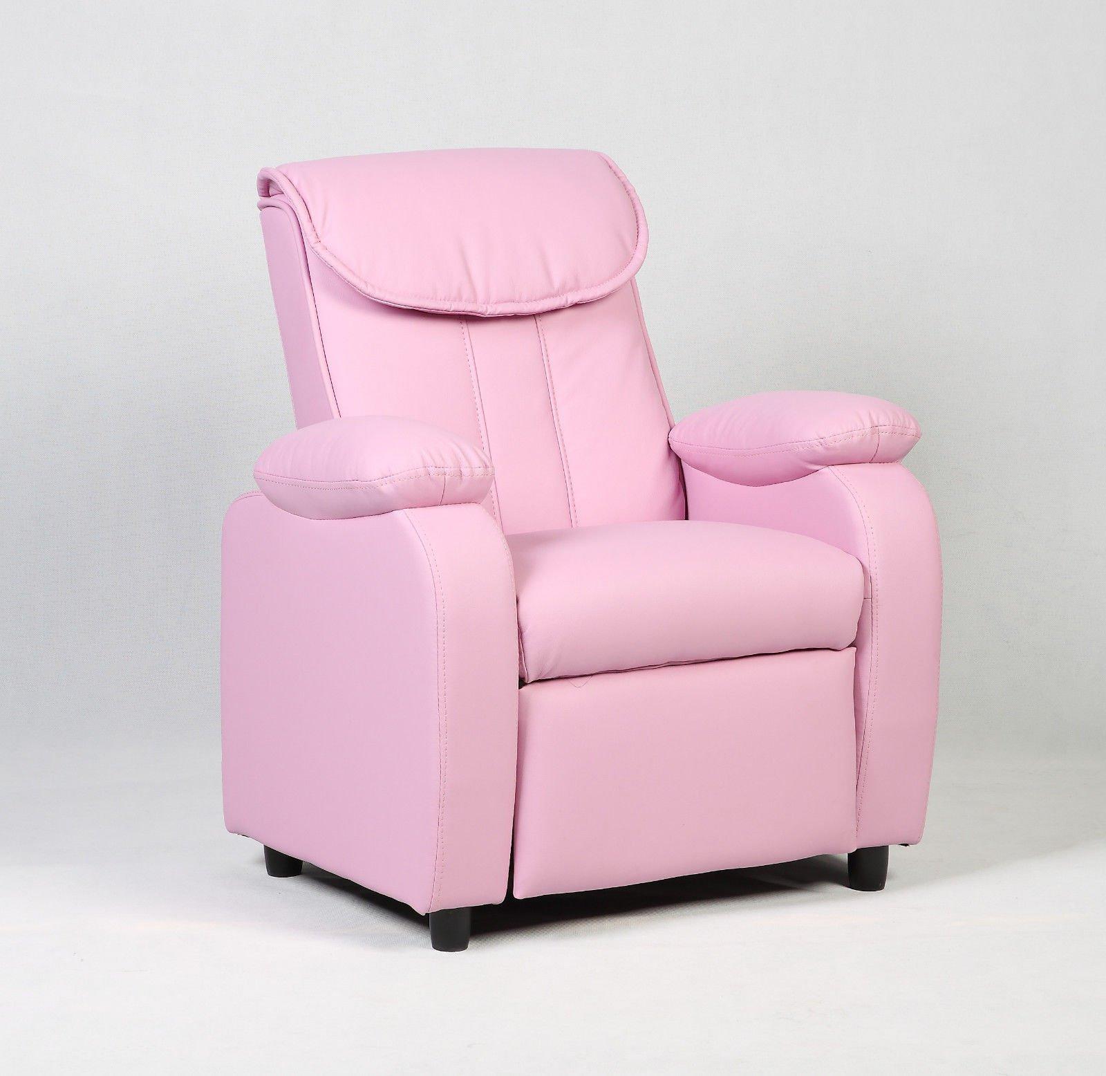 Costzon Deluxe Children Recliner Sofa Armrest Chair Living Room Bedroom Couch Home Furniture (Pink)