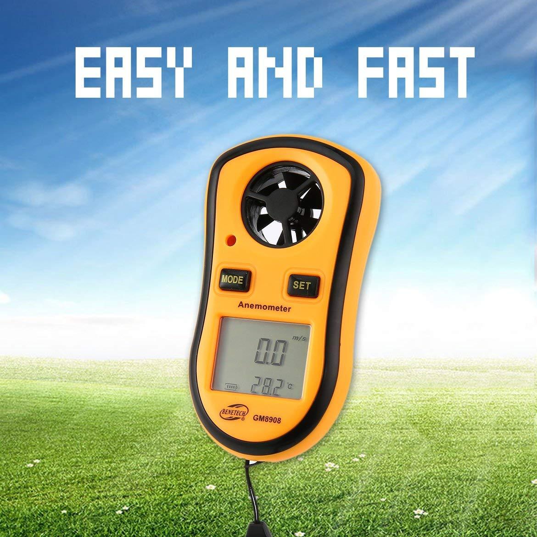 Harlls Benetech GM8908 An/émom/ètre Num/érique Thermom/ètre Vent Air Vitesse Jauge Compteur Windmeter Temp/érature Testeur Poratable LCD Affichage