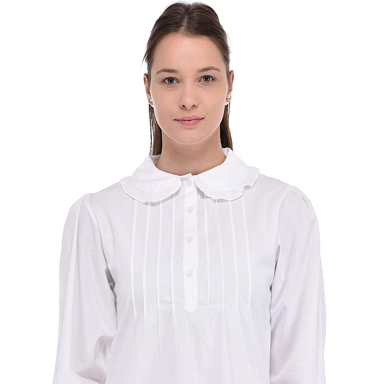 biggest discount classic chic wide selection of colors Cotton Lane Plus Size Peter Pan Collar White Blouse at ...
