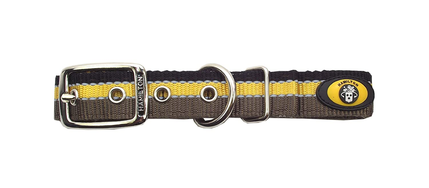 Brown 1\ Brown 1\ Hamilton Double Thick Deluxe Dog Collar with Reflective Threads, 1 by 22-Inch, Brown gold Black