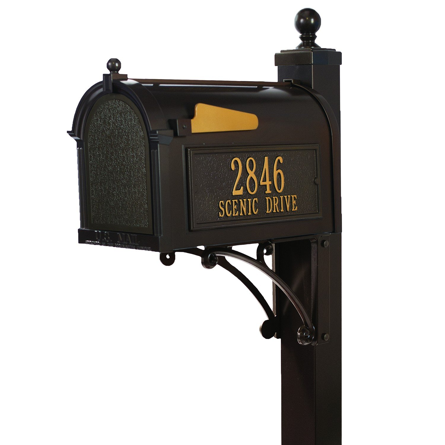 Whitehall Custom Premium Capitol Mailbox and Deluxe Side Mount Post Package - French Bronze Personalized in Goldtone