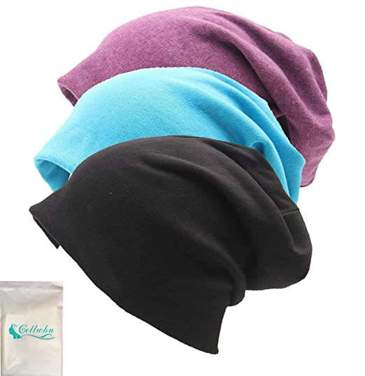 6336cd097b1 Gellwhu Unisex Cotton Beanies Soft Sleep Cap for Hairloss Cancer Chemo 3 -  Pack (Pack A) at Amazon Women s Clothing store