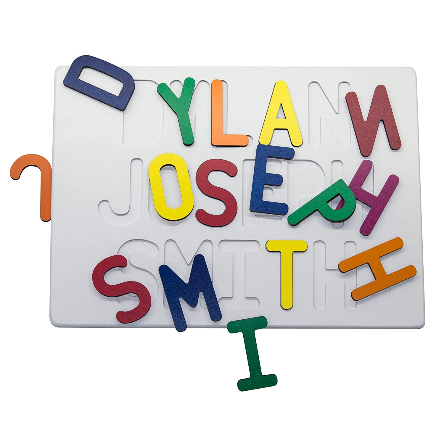 South Bend Woodworks Painted Base Custom Three Name Puzzle
