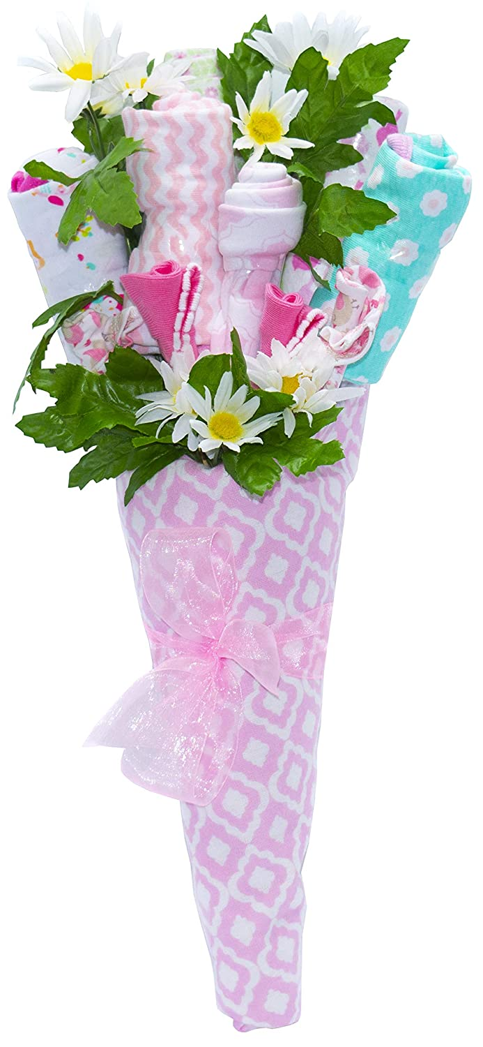 Nikki s New Baby Blossom Clothing Bouquet Gift Blue or Pink Baby Girl Pink