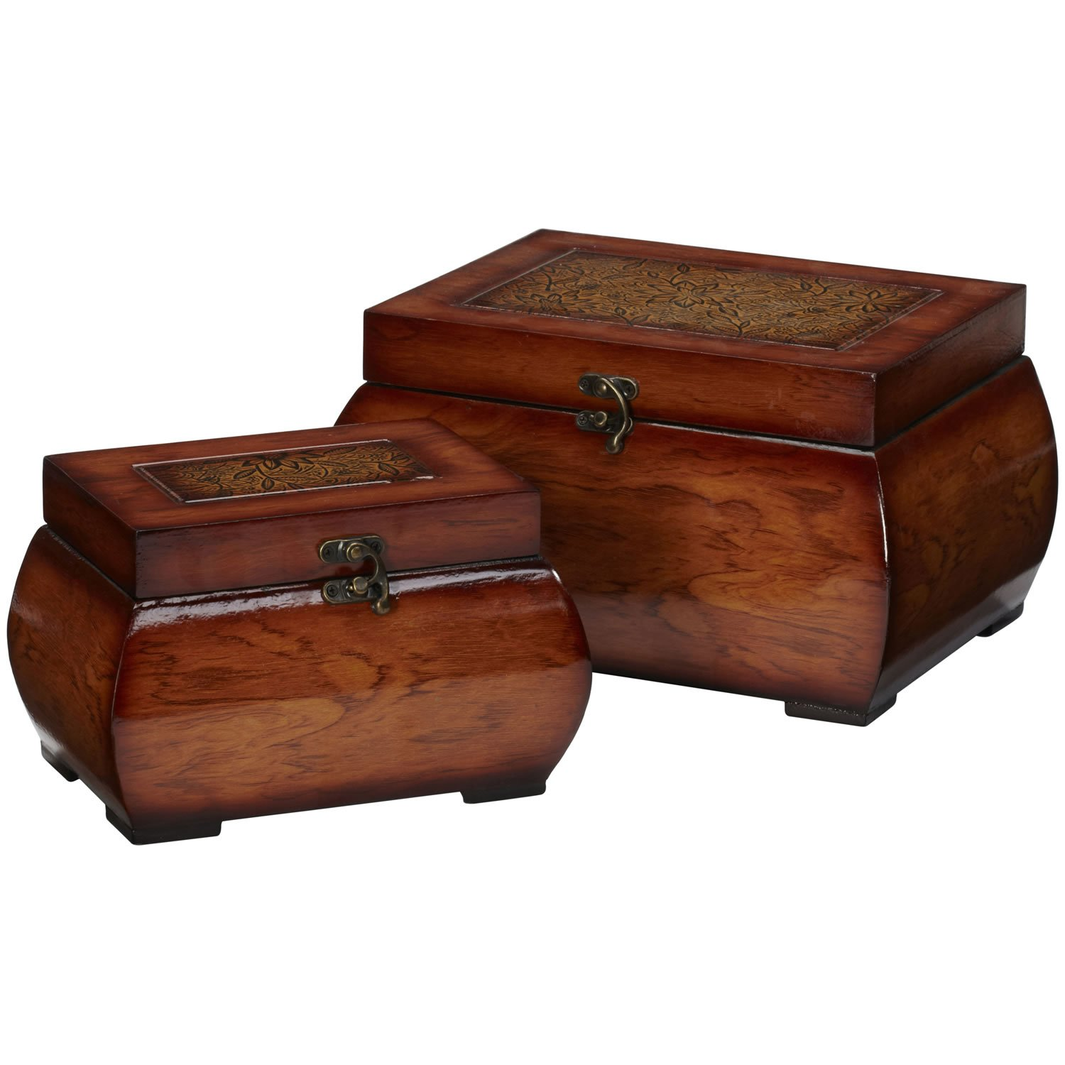 New Decorative Lacquered Wood Chests (Set of 2) NA