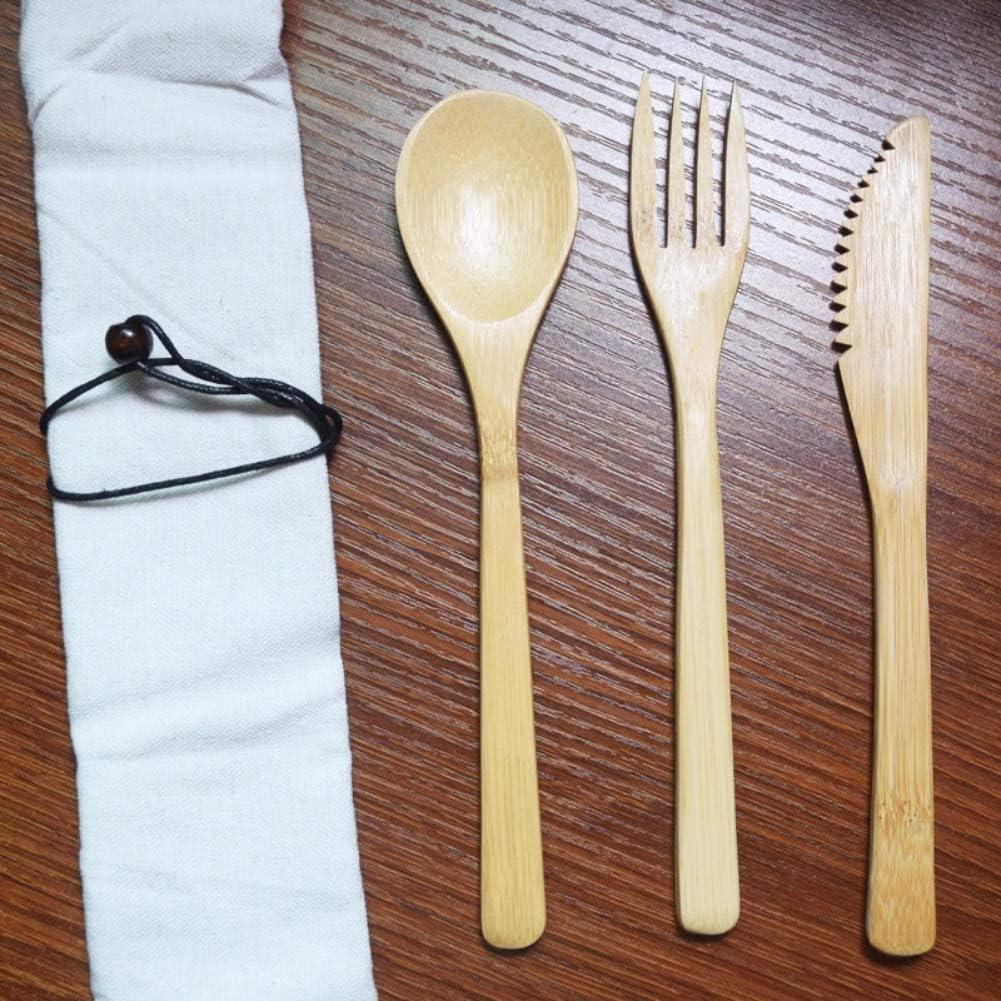 Cuchillo de bambú portátil, cuchillo de bambú, cuchillo de bambú, tenedor, cuchara para la oficina, casa, camping, picnic, viaje a: Amazon.es: Hogar