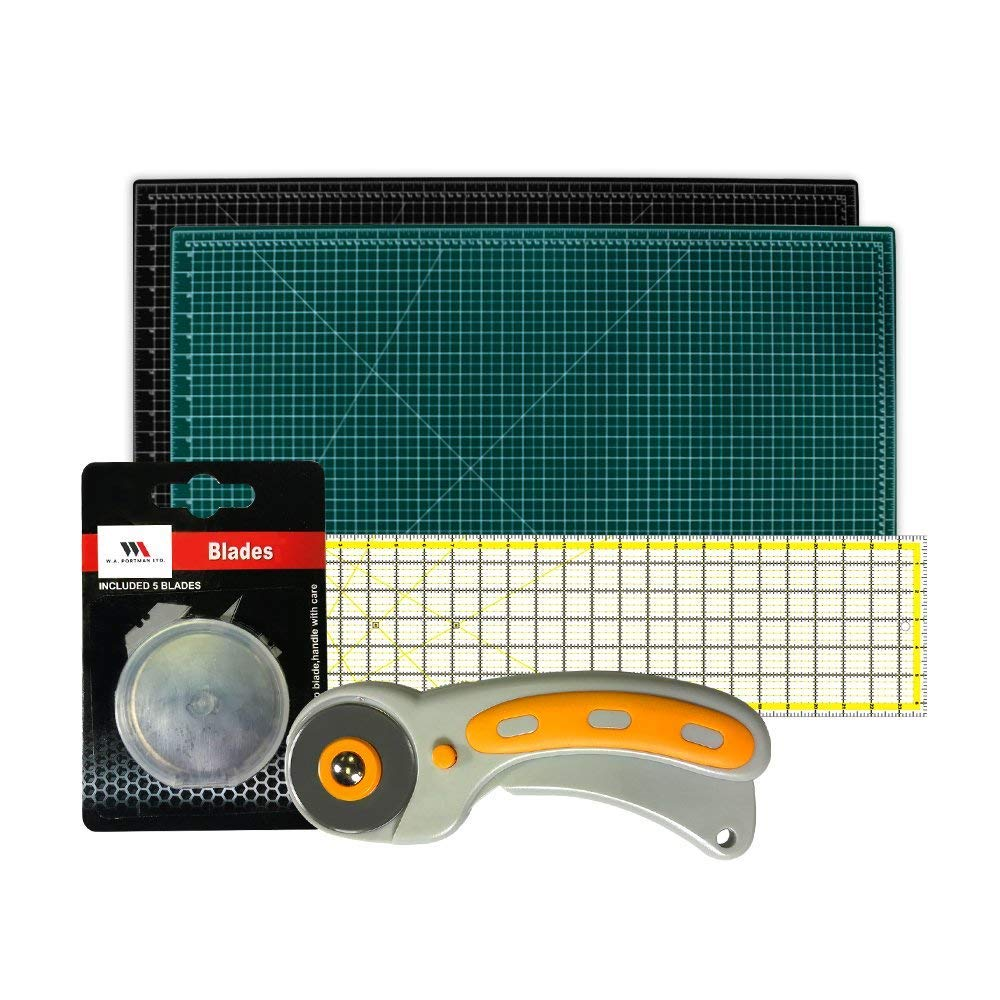 WA Portman Rotary Cutter Set | Rotary Fabric Cutter with 5 Extra Cutter Blades, 24x36-inch Self Healing Cutting Mat and 6x24-Inch Quilting Ruler in a Sewing Quilting Craft Supplies Set by W.A. Portman