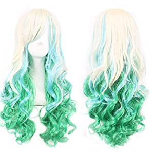 Long Curly Hair Wigs for Women Beige/Light Green Wig with Bangs BU036C