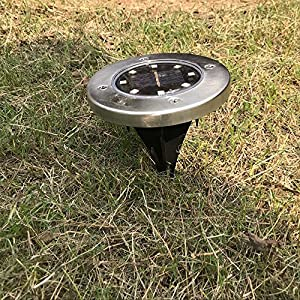 Wotryit LED Solar Power Buried Light In-Ground Lamp Outdoor Path Light Spot Lamp Yard Garden Lawn Landscape Decking Waterproof (4 Pack 8LED, Cool White)