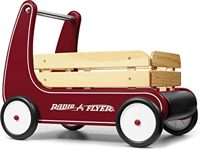 Radio Flyer Classic Walker Wagon, Sit to Stand Toddler Toy, Wood Walker, Red, Model Number: 612s