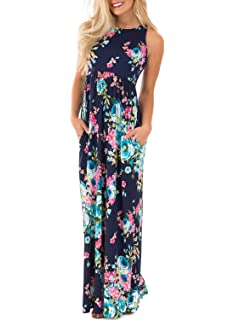 Lovezesent Womens Floral Print Round Neck Sleeveless Long Maxi Casual Dress