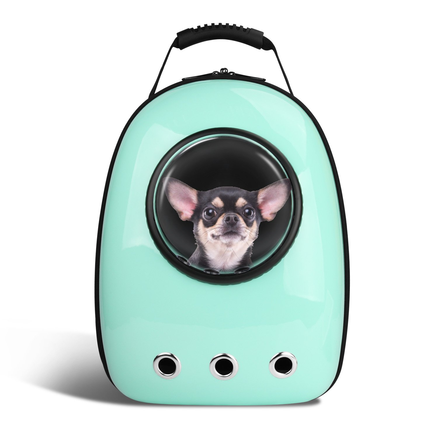 Anzone Pet Portable Carrier Space Capsule Backpack, Pet Bubble Traveler Knapsack Multiple Air Vents Waterproof Lightweight Handbag for Cats Small Dogs & Petite Animals-Cyan,30L