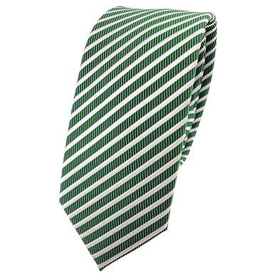 TigerTie - corbata estrecha - verde verde esmeralda plata blanco ...