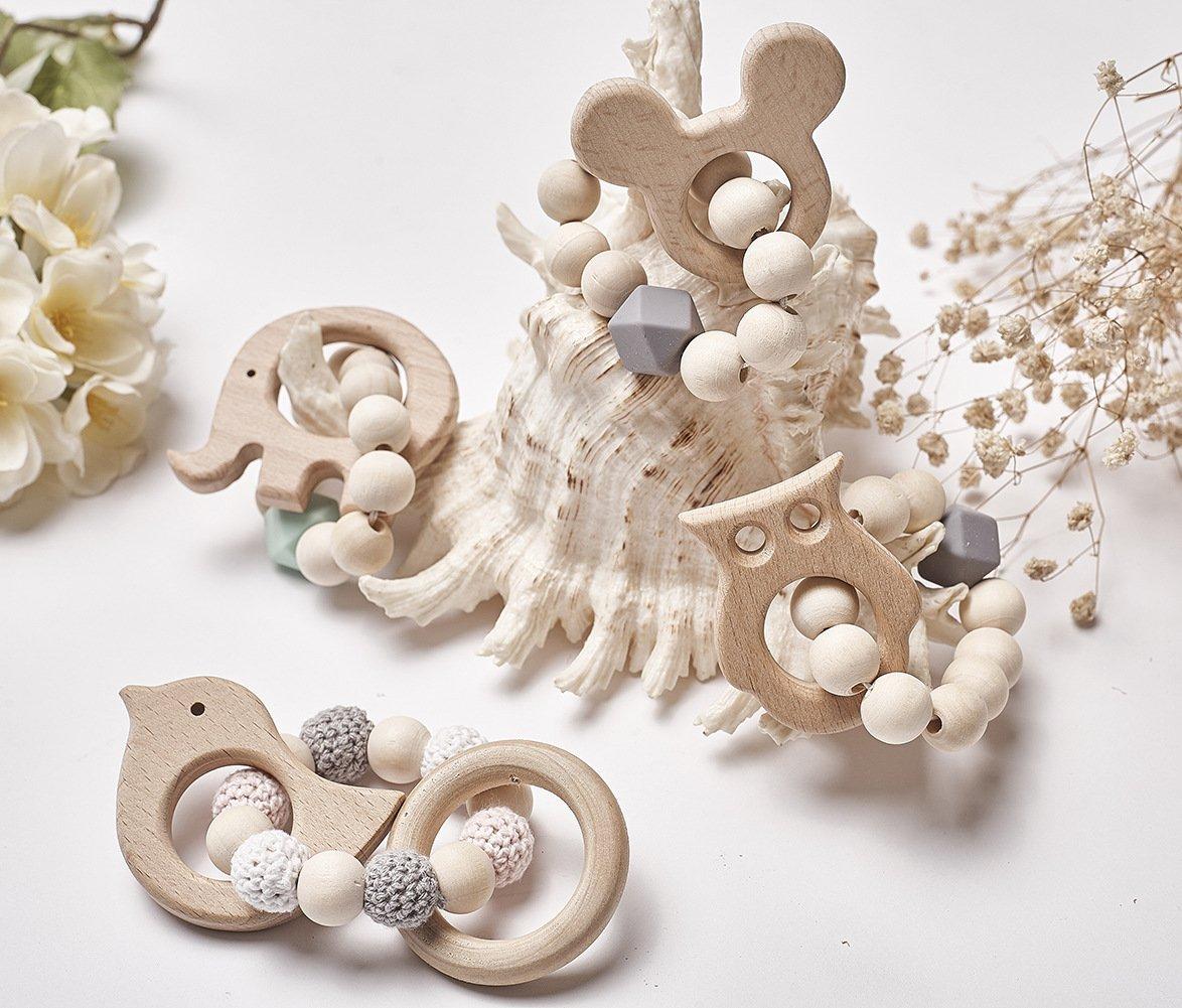 rosa Kaninchen Kopf WeieW Kinder fr/ühe Entwicklung Spielzeug Kinder Perlen dekorative Holzspielzeug String Bead schie/ßen Requisiten
