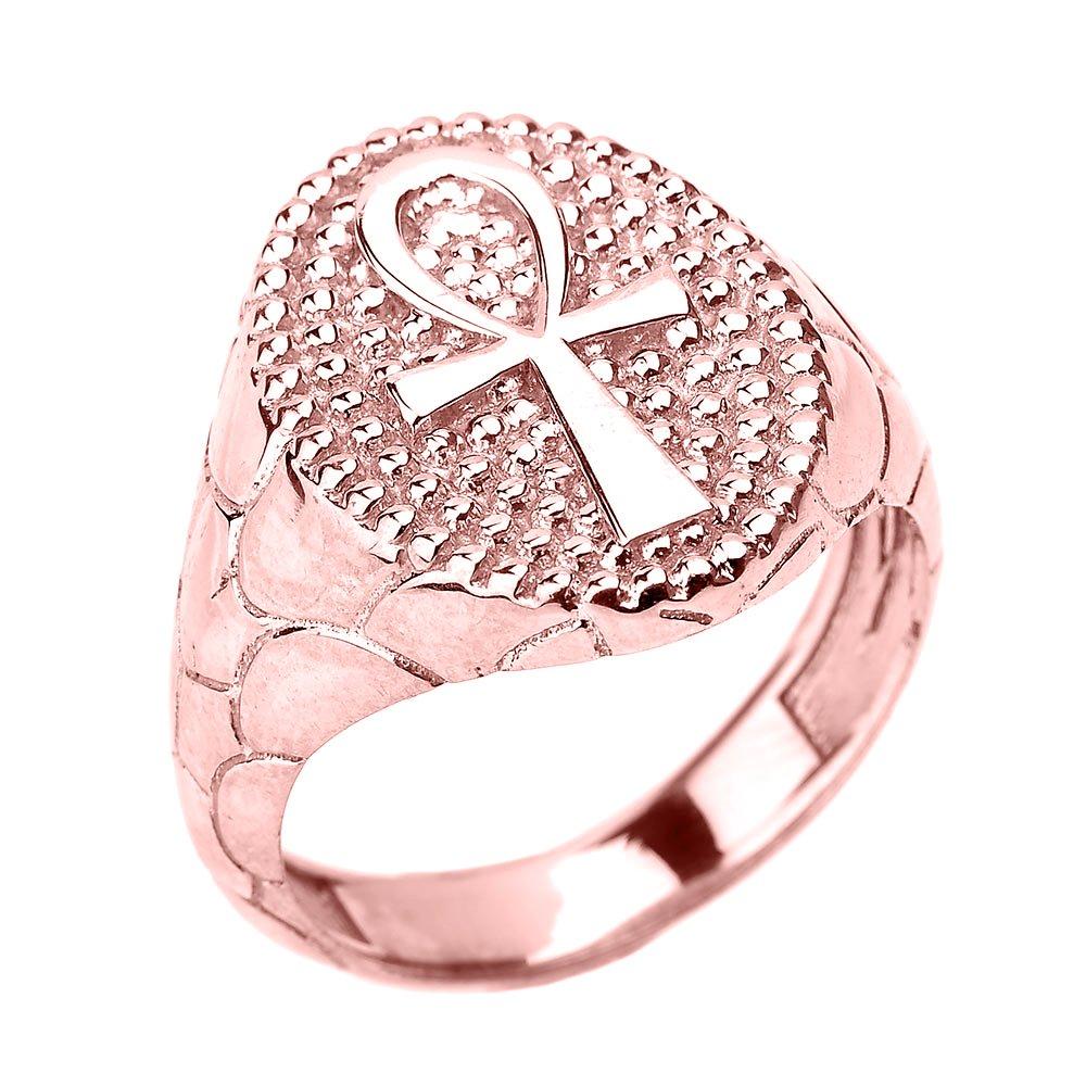 Men\'s 10k Rose Gold Egyptian Ankh Cross Ring Amazon.com