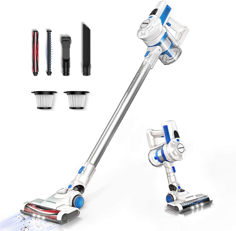 JASHEN Aspirador sin Cable, Aspiradora Escoba sin Cable 180W Ultraligera 2 en 1, LED Cabeza, 2 Velocidades, Batería de Larga Duración-Azul