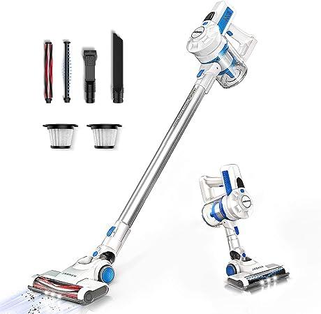 JASHEN Aspirador sin Cable, Aspiradora escoba sin cable 180W Ultraligera 2 en 1, LED Cabeza, 2 Velocidades, Batería de Larga Duración-Azul: Amazon.es: Hogar