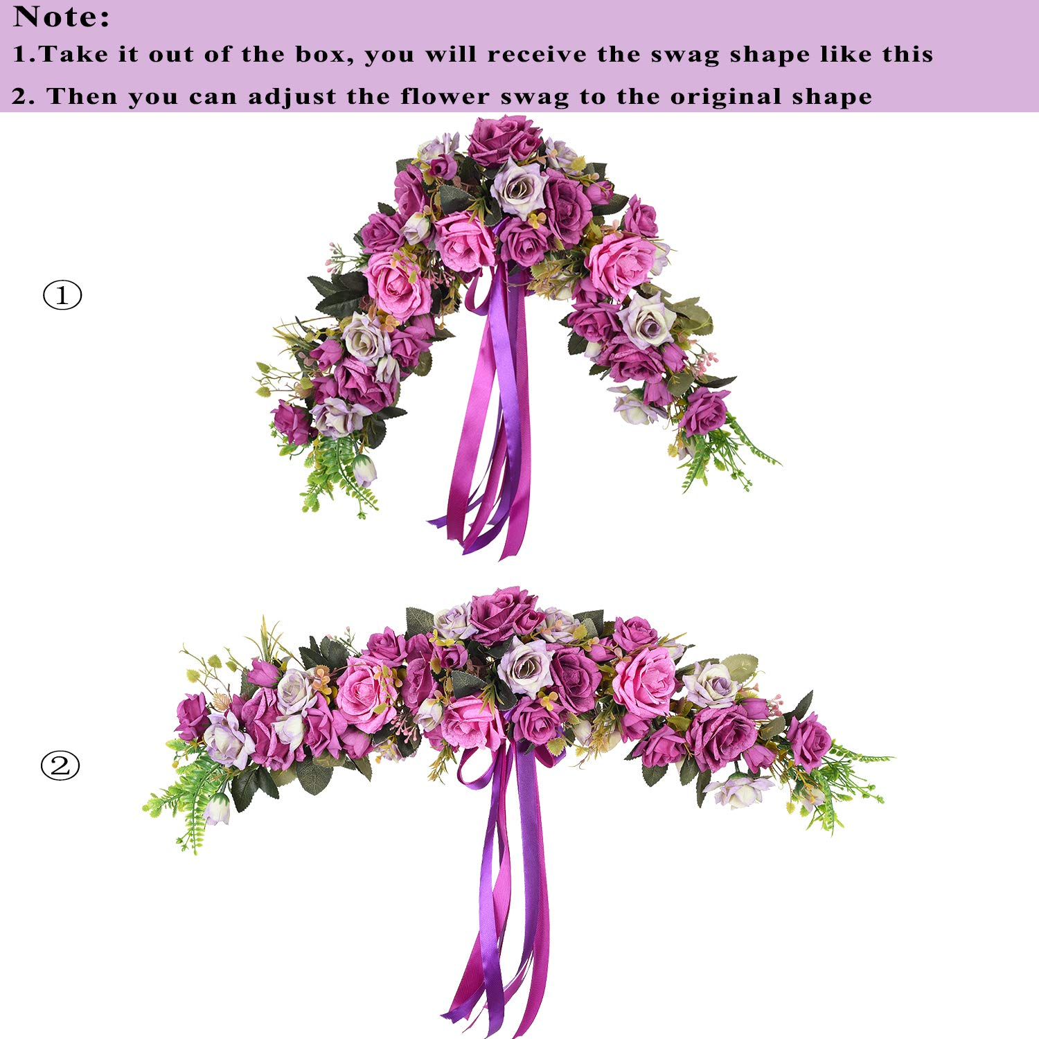 25 Inch Decorative Swag with Purple Fake Roses Green Leaves and Silk Ribbon for Wedding Arch Front Door Wall Decor Lvydec Artificial Rose Flower Swag