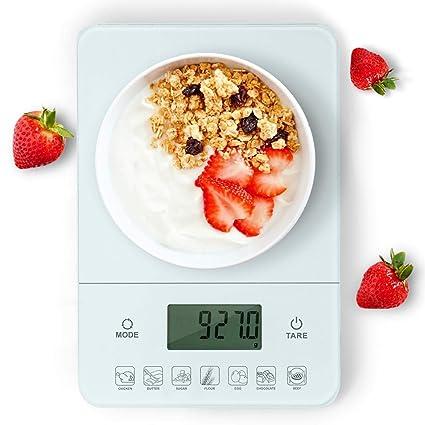 Aigostar Calorie 33LDF - Báscula de cocina digital con contador de calorías en vidrio templado.