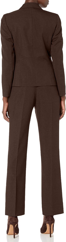 Le Suit Womens 2 Button Notch Collar Glazed Melange Pant Suit