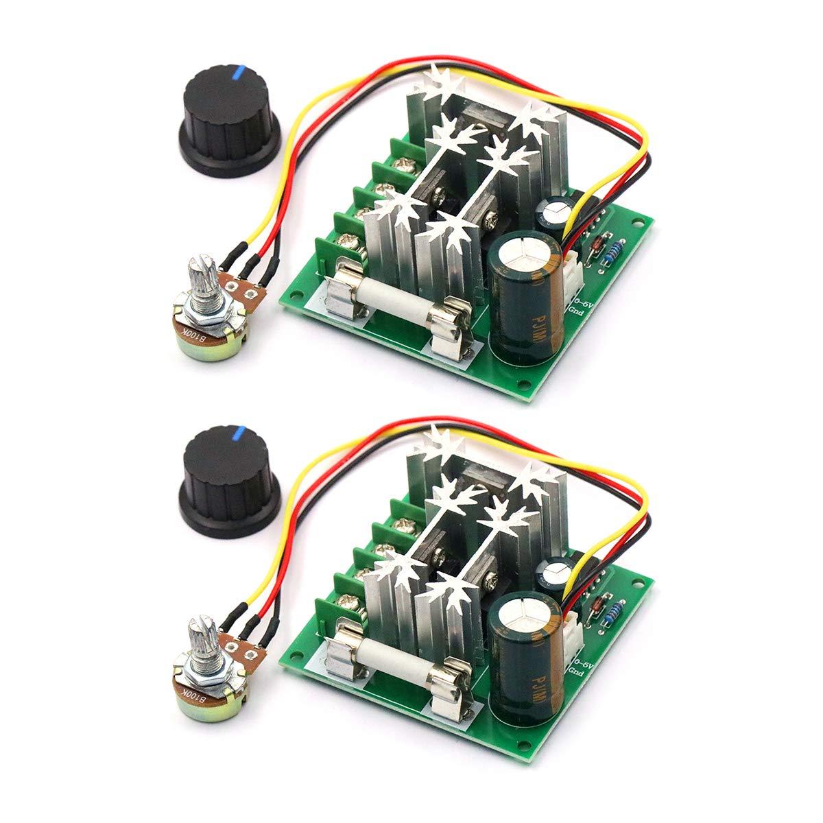 DaFuRui 2Pack Upgraded 6V-90V 15A DC Motor Pump PWM Speed Controller 16KHZ Regulator Module Board
