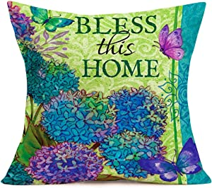 """Smilyard Butterfly Flower Pillows Decorative Pillow CoversBluish VioletHyacinth Floral with Animal Farmhouse Pillow Cover Cotton Linen Outdoor Decor 18""""x18"""" Sofa Pillowcase,Bless This Home (AH 09)"""