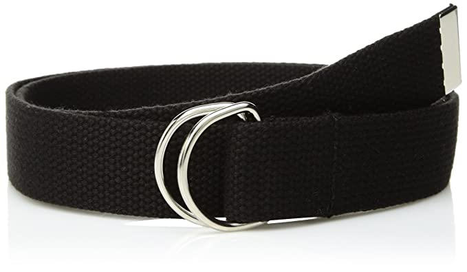 Canvas Web Belt Double D-Ring Buckle 1.5 quot  Wide with Metal Tip Solid  Color 8ddca98bddf
