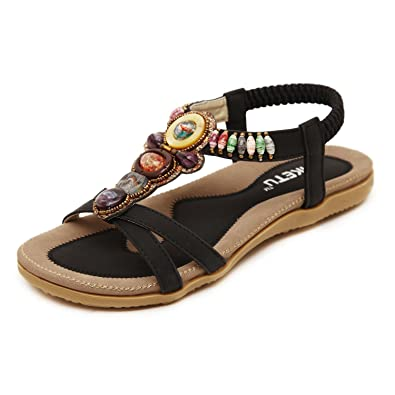 aef6ebfbad2319 DQQ Women s Bohemian Beaded Ankle Strap Sandals  Amazon.co.uk  Shoes ...