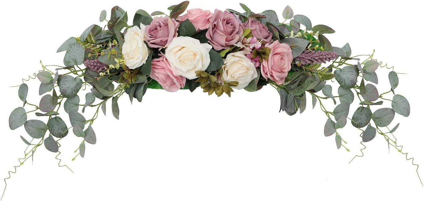 "HiiARug Artificial Rose Flower Swag, 31 Inch Decorative Swag with Dusty Rose Hydrangeas Eucalyptus Leaves for Home Room Garden Lintel Wedding Arch Party Decor (Ivory Dusty Rose,31"")"